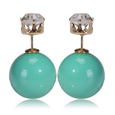 Habors Zircon and Matte Green Pearl Double Side Earrings for Girls
