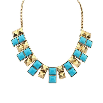 Habors Gold and Blue Geometric Statement Choker Necklace