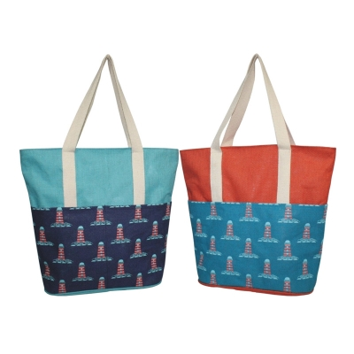 Lighthouse Beach Bag With Front Pockets (BEACH003)