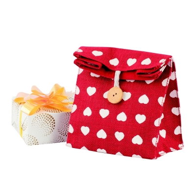 Little Hearts Envelop Gift Bag In Jute (GIFT003)