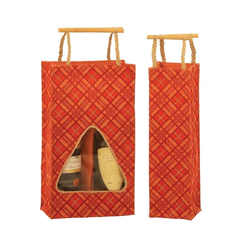 Wine Bag With Wooden Handle (WINE002)