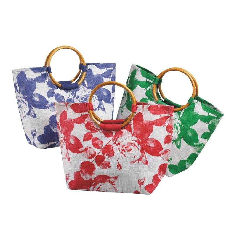 Floral Beach Bag With Cane Handle (BEACH001)