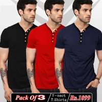 Y NECK T-SHITS PACK OF 3