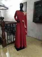 Weave Drape Embroidered Maxi