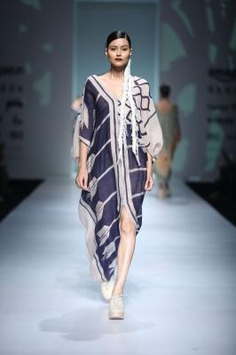Blue batik drape
