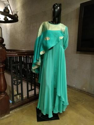 Layered Draped Banarasi Weave Tunic Dress