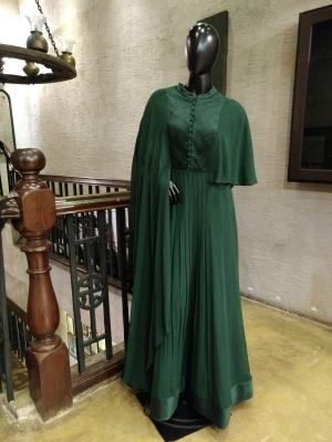 Draped Georgette Flared Maxi Dress