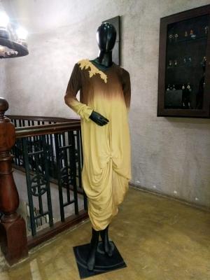 Ombre Drape Tunic Dress