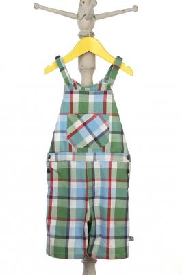 Blue check knee length overalls for infant boys