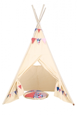 Pretend play tee pee with matching bunting and cushion for children