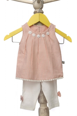Pink, pleated neck sleeveless blouse with matching tights for girls