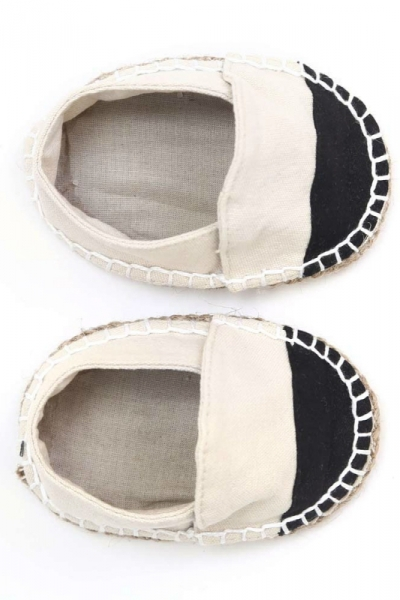 Black toe handmade espadrilles for infants