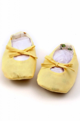 Yellow handmade booties/shoes for infants