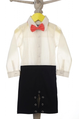 Formal tuxedo style onesie with bow tie for infant Boy.