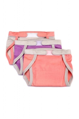 Set of 3 re-usable fabric nappies with velcro for infants