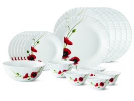 Red Carnation 19 Pc Opalware Dinner Set