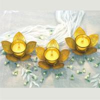 Set of 3 Golden Lotus Tea Light