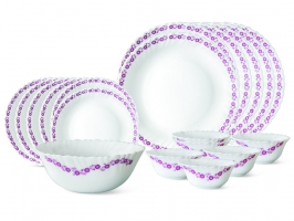 Lilac 19 Pc Opalware Dinner Set