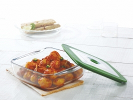 Square Dish With Green Lid 1L