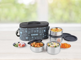 Carry Fresh Set of 4 Stainless Steel Lunch Box