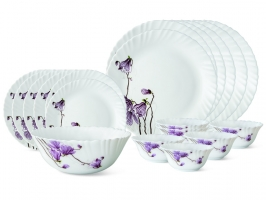 Lily Blossom 19 Pc Opalware Dinner Set