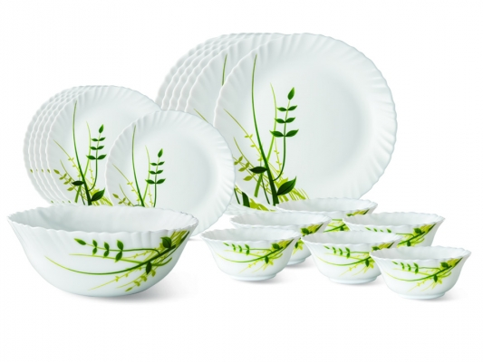 Green Herbs 19 Pc Opalware Dinner Set