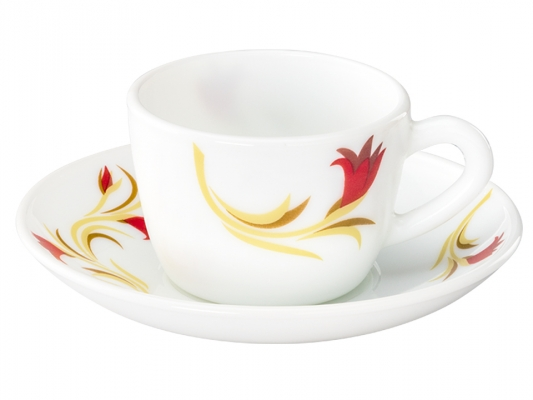 Red Lily 12 Pc Cup Saucer Set