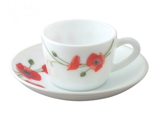 Red Carnation 12 Pc Cup Saucer Set