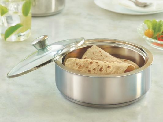 Stainless Steel Insulated Roti Server with Coaster, 2500 ml