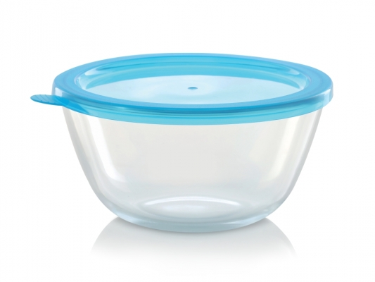 Mixing Bowl with Blue Lid, 1300 ml