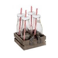 Mason jars Milk bottle with wood base