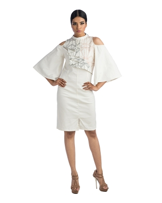 Cold Shoulder White Dress With Bell Sleeves