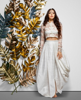 Embroidered Crop Top With Draped Skirt