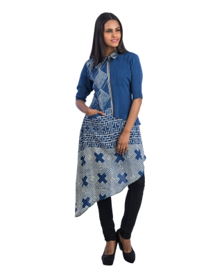 Asymmetrical Block Printed Top