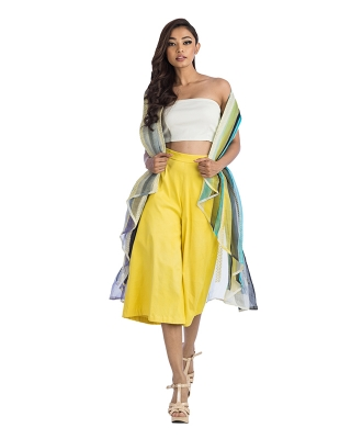 Jacket With A Black Belt And Yellow Culottes