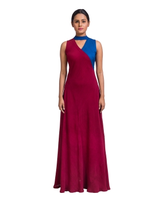 Colour Block Choker Long Dress