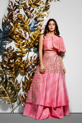Hand Embroidered Layered Skirt With Box Pleated Top