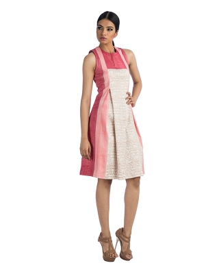 Sleeveless Dress With Box Pleats