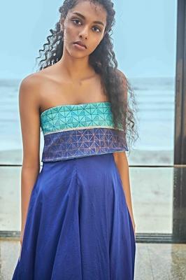 Blue Toned Off Shoulder Dress