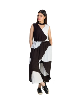 CHOKERED OVERLAPPED DRAPED JUMPSUIT