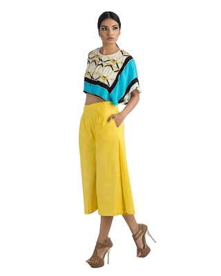 Crop Top With Irregular Sleeves & Yellow Culottes