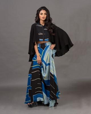 Embroidered Draped Top & Semi-Circular Skirt Set