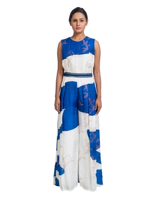 Hand Painted Pleated Jumpsuit With Embroidered Belt