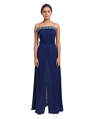 Hand Dyed Long Ruffle Dress