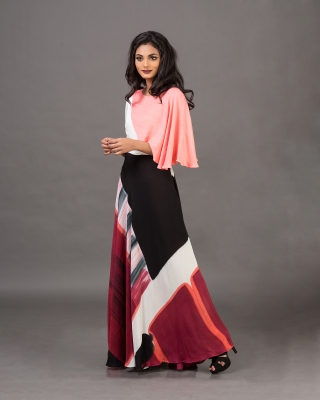 Asymmetrical Sleeve Draped Dress