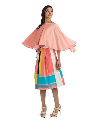 Peach Top & A-Line Midi Length Skirt