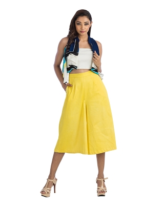 Pleated Cold Shoulder Shrug & Flared Culottes