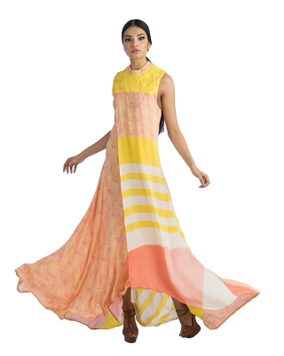 Sleeveless Long Dress With Yellow Weaved Yoke