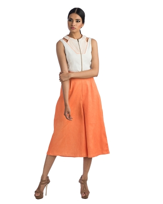 Sleeveless White Top With Front Zipper & Orange Culottes