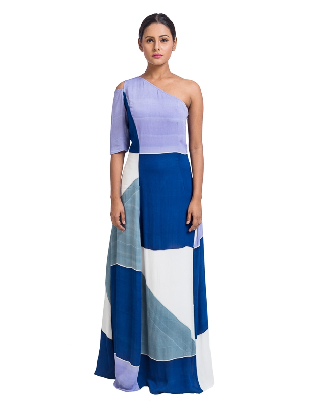 Placement Printed One Shoulder Dress